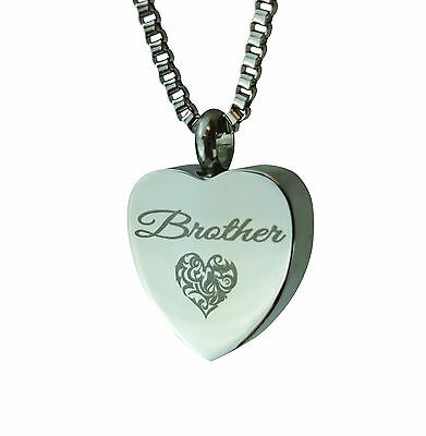Cremation Jewellery - Memorial Ash Urn Pendant - Brother Heart - Engraving
