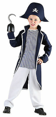 Captain Pirate Ahoy Buccaneer Swashbuckler Boys Kids Childs Fancy Dress Costume
