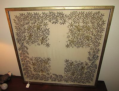 Antique Ottoman framed embroidery with gold thread Persian 19th