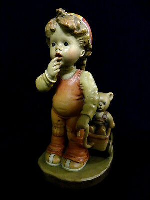 Anri Italy Finding Our Way Boy With Bear Sarah Kay Carved Wood Le Figurine