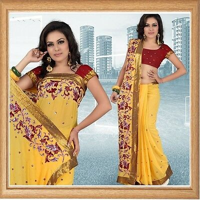 Indian Bollywood Designer Wedding Party Georgette Embroidery women Ethnic Saree