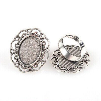 10pc Adjustable Finger Ring Oval Tray Blank Cabochon Bezel Setting Antique Siver
