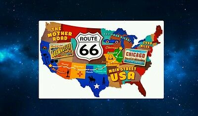 Fun Route 66 Map of the USA Fridge Magnet. NEW. The Mother Road. United States
