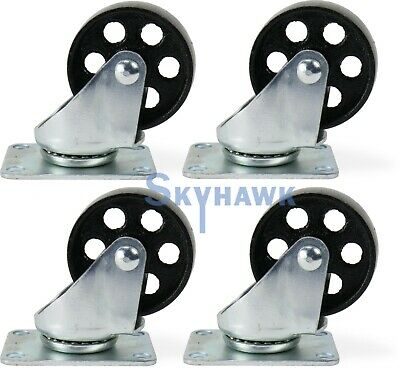 "4pc 3"" 1400lb-Cap ALL-STEEL WIDE WHEEL SWIVEL TOP PLATE CASTER SET"