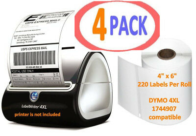 4 Rolls 220/Roll Thermal Shipping Labels 4x6 Compatible 1744907 Dymo 4XL