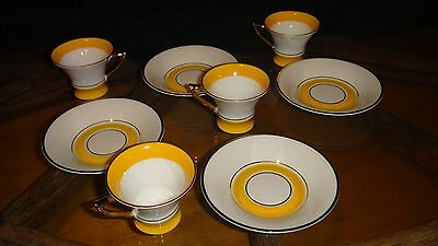 Hackefors Sweden Porcelain Demitasse Cup and Saucer (Set of 4)white yellow