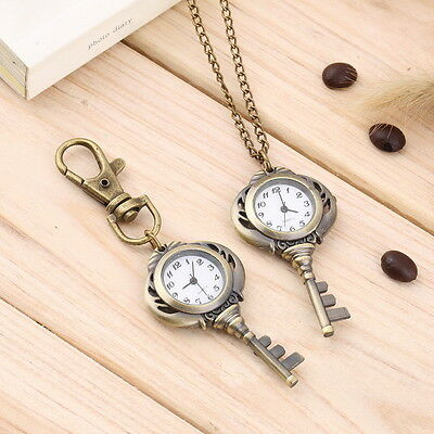New Fashion Antique Retro Alloy Key Shaped Pendant Pocket Watch Key Chain FT
