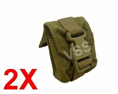 2x Frag Grenade Pouches Molle Coyote Eagle USMC Tactical Military Cell 052357 v