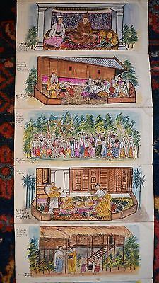 40 Rare Old Burmese Paintings In Folding Display Wood Cover Glass Inlay