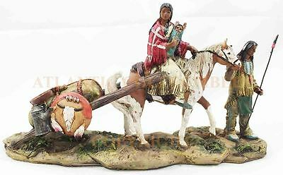 Native American Indian Family and Horse Travelling Figurine Statue Collectible