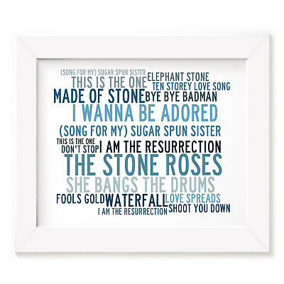 `Crystalline` THE STONE ROSES Art Print Typography Song Lyrics Signed Poster