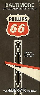1967 PHILLIPS 66 Road Map BALTIMORE ANNAPOLIS Maryland Ellicott City Towson