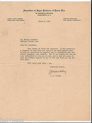 Vintage Commercial Letter / Association Of Sugar Producers Of Puerto Rico / 1940