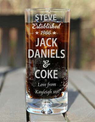 Jack Daniels & Coke Personalised Mixer Glass Birthday Christmas Gifts Est. Star