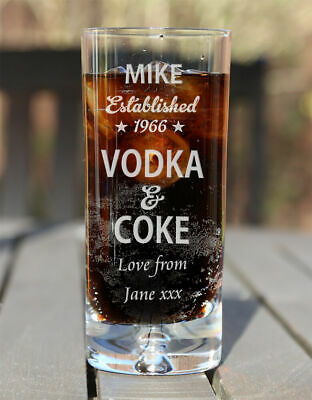 Personalised Vodka & Coke Lovers Mixer Glass Birthday Christmas Gifts Est. Star