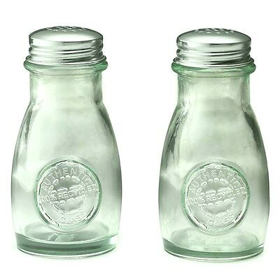 Collectible Authentic Tablecraft Recycled Glass Salt & Pepper Shakers 4oz 1/2cup