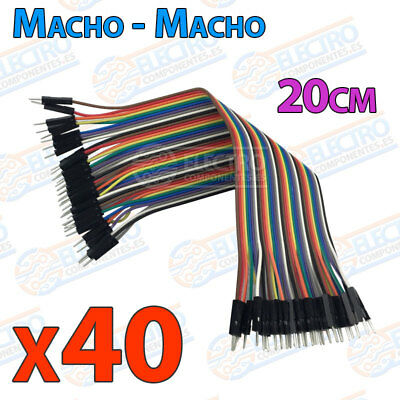 40 Cables 20cm Macho Macho jumper dupont 2,54 arduino protoboar cable