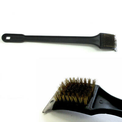 "Barbeque BBQ Grill Brush Brass Bristles & Scraper Tool 12"" Long Heavy Duty New"