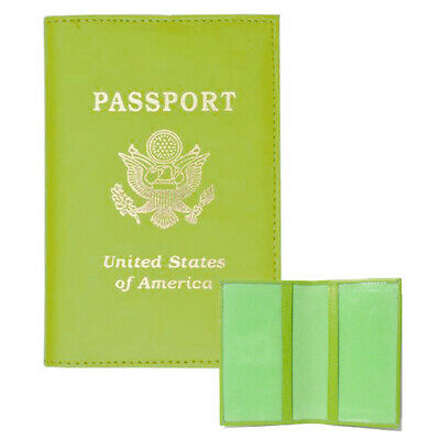 Genuine Green Leather Passport Travel Holder Case Leather Wallet Protects New !!