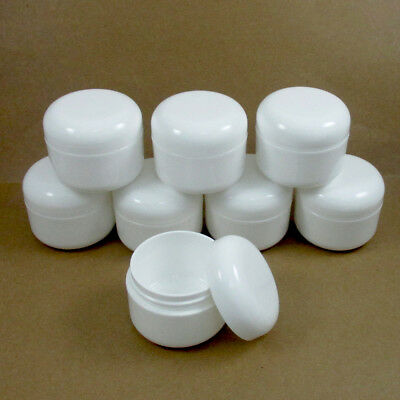 8 WHITE 1.7 oz Plastic Cosmetic Double Wall Cream Empty Dome Jars Containers Cap