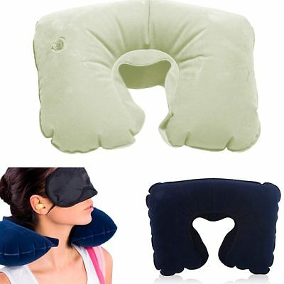 Inflatable Travel Pillow Neck Air Cushion U Rest Compact Plane Spa Car New Soft