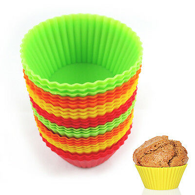 12 Silicone Cupcake Liner Holders Bake Muffin Dessert Baking Chocolate Cups Mold