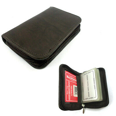 Mens Genuine Leather Zippered Credit Card Wallet Holder Business ID Window New !