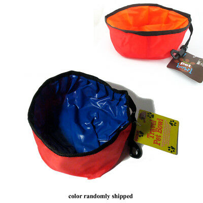 Pet Dish Travel Feeder Bowl Collapsible Foldable Dog Cat Dispenser Water Food !!
