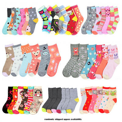 6 Pairs Girls Toddler Socks Kids Designs Size 4-6 Mixed Assorted Fashion Colors