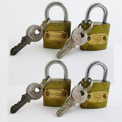 4 Small Heavy Duty Padlocks Keyed High Security Mini Box Lock Brass Steel 25 mm