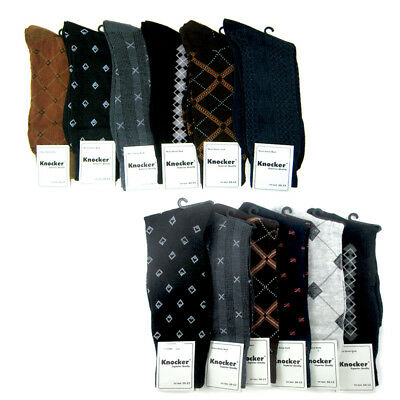 6 Pairs Mens Dress Socks Multi Color Print Casual Work Size 10-13 Fashion Crew !