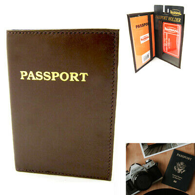 1 RFID Blocking Leather Passport Holder Wallet Cover Case Safety Protector Brown