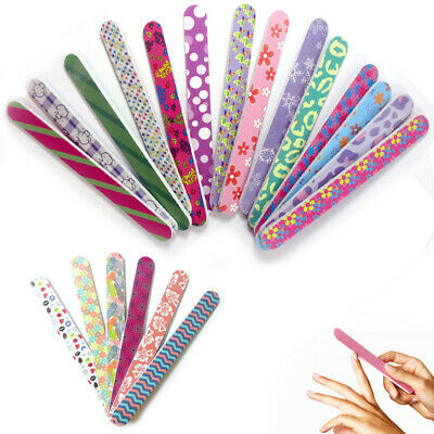 12 Double Sided Nail File Emery Board Manicure Pedicure Assorted Gift Set Design