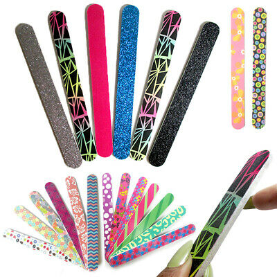 New 12 Double Sided Nail File Emery Board Manicure Pedicure Gift Set Design 7""