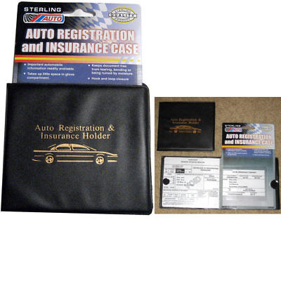 Auto Car Truck Registration Insurance Document Holder Wallet Black Case Id Card