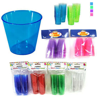 20 Shot Glasses Hard Plastic 1 Oz Mini Wine Glass Party Cups Barware Catering !