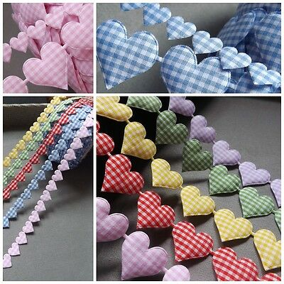 Gingham Ribbon Heart Cotton trim Love motif craft sewing rustic wedding