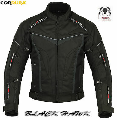 Black Hawk Mens Ce Armour Vented Motorbike / Motorcycle Winter Textile Jacket