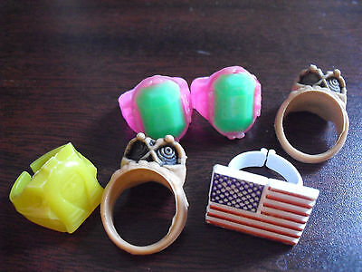 Lot of 6 Vintage 1970s Plastic Gumball Machine Childrens Rings