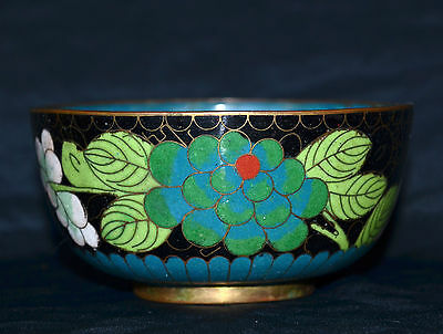 Very Fine Antique Chinese Cloisonne Bowl Flower Design