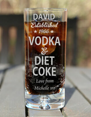 Personalised Vodka & Diet Coke Mixer Glass Birthday Christmas Gifts Est. Star