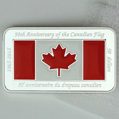 Canada 2015 $50 Canadian Flag 50th Anniversary 1.5 oz. Pure Silver Rectangular