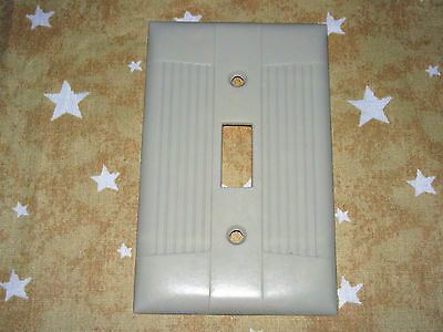 SINGLE Vintage wide ribbed ivory light switch cover plate rib smooth down center