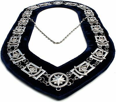 Regalia Masonic Past Master Silver Metal Chain Collar Dark Blue Velvet Backing