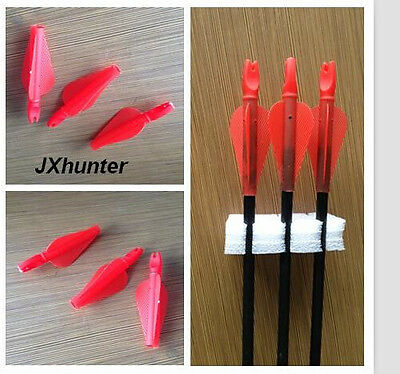 12)Archery hunting conjoined arrow nock and plastic fletching vane ID 8mm red