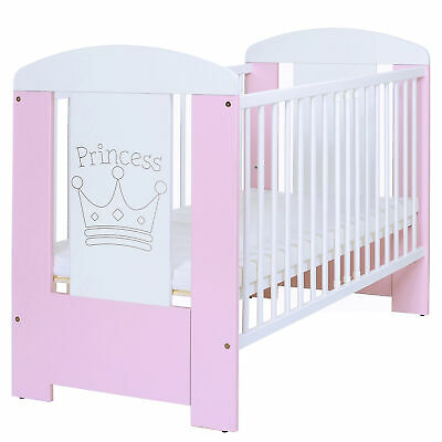 Baby Cot Bed 120x60 cm + Matress 3 Height Adjustment + 3 Bars Removeable White