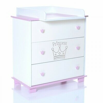 Baby Chest with 3 Drawers Changing Table removeable unit Princess pink wihtie
