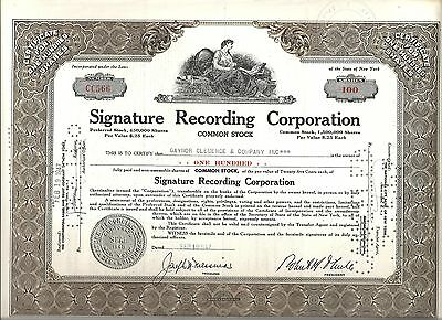 Signature Recording Corporation USA 1947, Aktie, Common Stock, entwertet