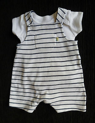 Baby clothes BOY newborn 0-1m Mothercare navy blue/white stripe romper/bodysuit