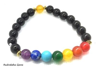 7 Chakra Christal Stones Bracelet. Healing Beads Jewellery Natural Reiki gift A+